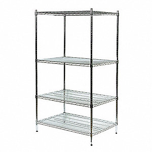 "Polished Wire Shelving Unit Starter, 63"" Height, 48"" Width, Number of Shelves 4"