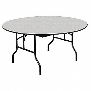 "Folding Banquet Table,60""Dia,Gray Glace"