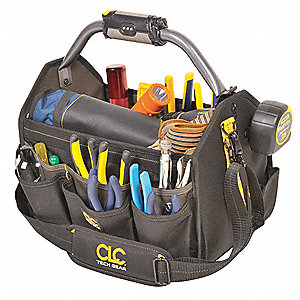 Polyester Tool Bag, General Purpose, Number of Pockets: 22, Black