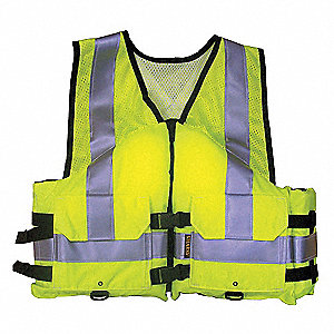 Work Zone Life Vest, Flotation Foam,2XL