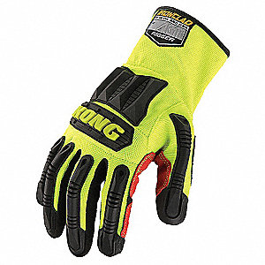 High-Visibility Rigger Gloves, Synthetic Leather/PVC Palm