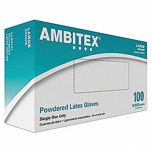 Ambitex Latex Disposable Gloves, Powdered