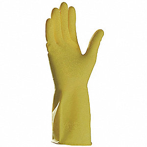 Latex Chemical Resistant Gloves, 15 mil Thickness, Flock Lining, Size S, Yellow, PR 1