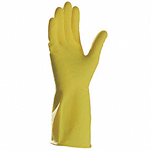 Latex Chemical Resistant Gloves, 15 mil Thickness, Flock Lining, Size M, Yellow, PR 1