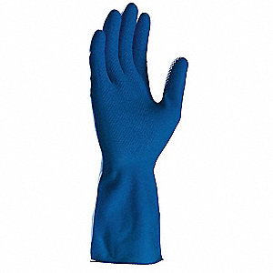 Latex Chemical Resistant Gloves, 11 mil Thickness, Size M, Blue, PK 12