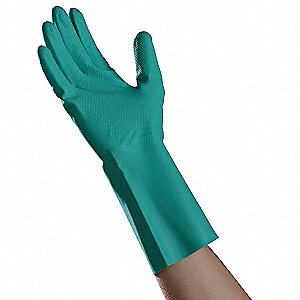 Nitrile Chemical Resistant Gloves, 15 mil Thickness, Flock Lining, Size XL, Green, PK 12