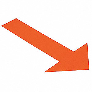 Ind Floor Tape Markers,Arrow,Orng,PK50