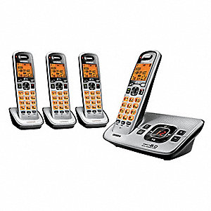 Cordless Telephone,Four Handset,Silver