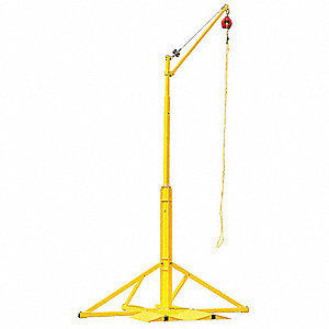 "Yellow Fall Arrest Post Davit Arm, Powder Coated Finish, 240"" Overall Height"