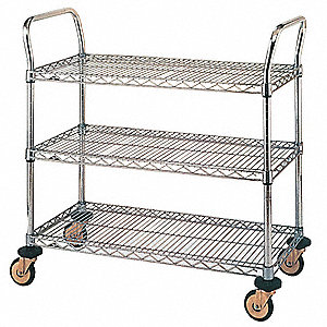 Utility Cart,Chrome,38x18x38,3 Shelf