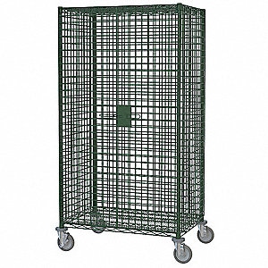 Wire Security Cart, 900 lb. Load Capacity, (4) Swivel Caster Type, Chrome/Polyurethane Caster Materi