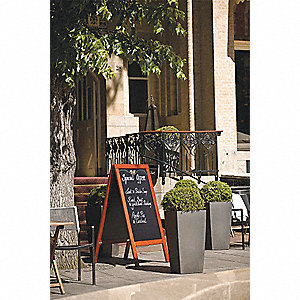 Synthetic Sandwich Board, Lacquered Wood Frame Material, 34 IN Overall Height