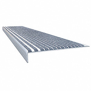 Concrete Gray, Extruded Aluminum Stair Tread Cover, Installation Method: Fasteners, Beveled Edge Typ