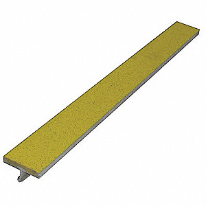 "Yellow, Extruded Aluminum Stair Strip, Installation Method: Set in Concrete, 48"" Width"