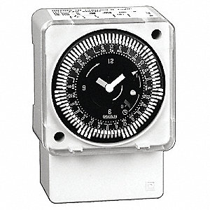 Electromechanical Timer, 120VAC Voltage, 21 Amps, Max. Time Setting: 6 days 22 hr.