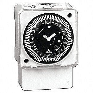 Electromechanical Timer, 240VAC Voltage, 21 Amps, Max. Time Setting: 6 days 22 hr.