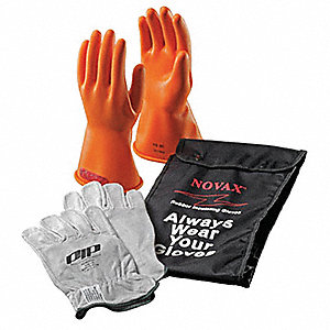 Orange Electrical Glove Kit, Latex, 0 Class, Size 9