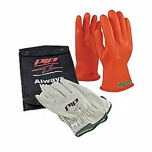 Orange Electrical Glove Kit, Latex, 00 Class, Size 7