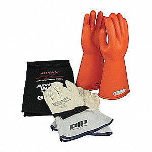 Orange Electrical Glove Kit, Latex, 1 Class, Size 10