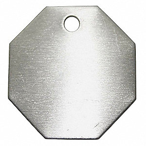 Silver Blank Metal Tag, Aluminum, Octagon, 100 PK