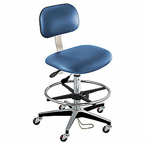 "Bridgeport (BT) Series Blue Ergonomic Chair, 19 to 26"" Seat Height Range, Upholstered Vinyl"