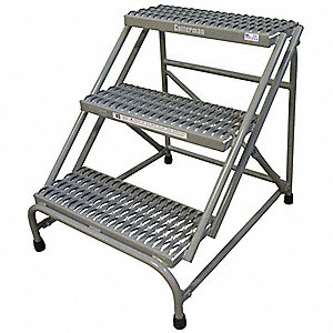 "Steel Step Stand, 30"" Overall Height, 500 lb. Load Capacity, Number of Steps 3"