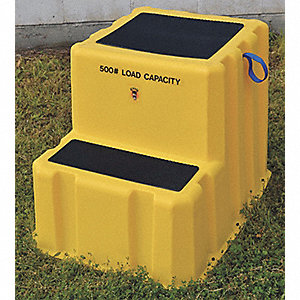 "Polyethylene Step Stand, 24-1/8"" Overall Height, 500 lb. Load Capacity, Number of Steps 2"