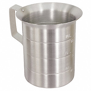 Measuring Cup,Aluminum,4 qt. Liquid