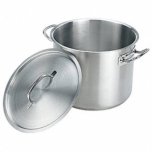 Stock Pot w/Cover,24 qt,13-1/2 In.,SS