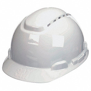 Hard Hat,Vented,4 pt Ratchet,White