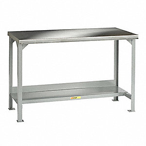 "Workbench, 48"" Width, 30"" Depth  Stainless Steel Work Surface Material"