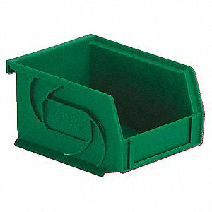 "Hang and Stack Bin, Green, 5-3/8"" Outside Length, 4-1/8"" Outside Width, 3"" Outside Height"