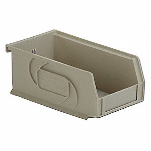 "Hang and Stack Bin, Stone, 7-3/8"" Outside Length, 4-1/8"" Outside Width, 3"" Outside Height"