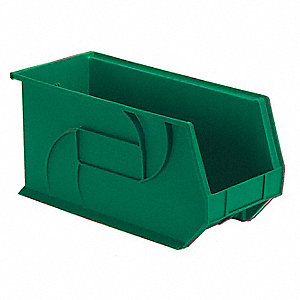 "Hang and Stack Bin, Green, 18"" Outside Length, 8-1/4"" Outside Width, 9"" Outside Height"