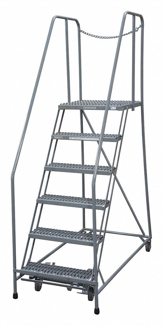 Cotterman 6 Step Rolling Ladder Expanded Metal Step Tread