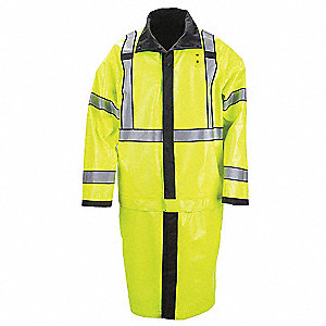 "Unisex Reversible Black/Hi-Vis Yellow Nylon Tactical Rain Jacket, Size 2XL, Fits Chest Size 50"" to 5"