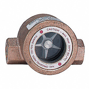 "Bronze Window Sight Flow Indicator with Impeller, 1/2"" Pipe Size, FNPT Connection Type"