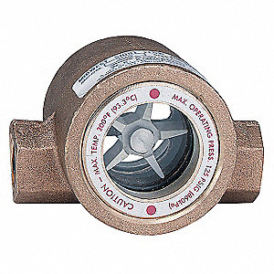 "Bronze Window Sight Flow Indicator with Impeller, 1"" Pipe Size, FNPT Connection Type"