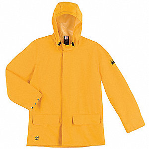"Men's Yellow PVC and Polyester Rain Jacket, Size 6XL, Fits Chest Size 58"" to 60"", 35"" Jacket Length"
