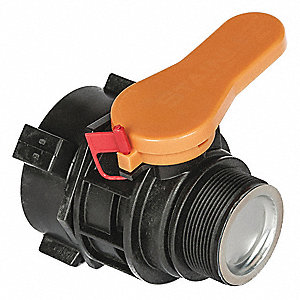 "Intermediate Bulk Container Valve, Polypropylene, 5"" Outside Length, 3-3/8"" Outside Width"