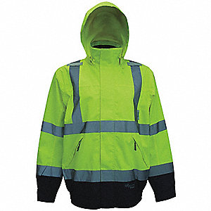 Men's Green 300D Trilobal Polyester/Polyurethane Bomber Rain Jacket with Detachable Hood, Size 4XL,
