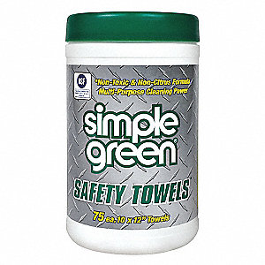 "Detergent Fragrance Safety Towel Multipurpose Wipes, 10"" x 12"", 75 Wipes per Container, 1 EA"