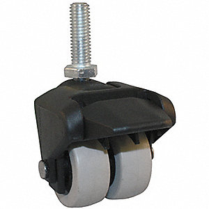 "2"" Dual Wheel Caster w/Brake, 150 lb. Load Rating, Wheel Width 3/4"", Thermoplastic Rubber"