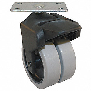 "3"" Dual Wheel Caster w/Brake, 150 lb. Load Rating, Wheel Width 7/8"", Thermoplastic Rubber"