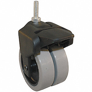 "1-1/2"" Dual Wheel Caster, 150 lb. Load Rating, Wheel Width 3/4"", Thermoplastic Rubber"