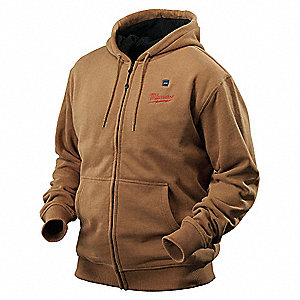 Men's Khaki Heated Hoodie, Size: S, Battery Included:  2XKZ6