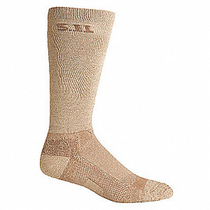"9"" 80% Wicking Polyester, 8% Nylon, 8% Spandex, 4% Rubber Boot Socks, Men's, Khaki, 1 EA"