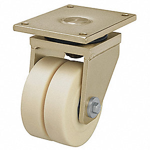 "8'' Dual Wheel Caster, 11,900 lb. Load Rating, Wheel Width 2"" x 2-11/64"", Nylon"