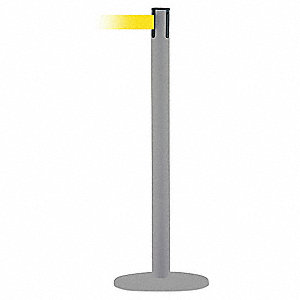 Barrier Post with Belt,13 ft. L,Yellow