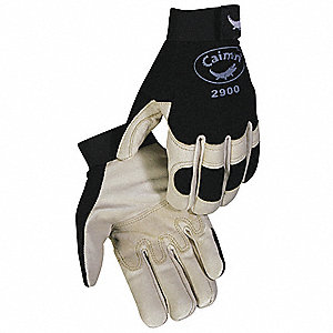 Leather Mechanics Gloves, Grain Pigskin Leather Palm Material, Black/Tan, XL, PR 1